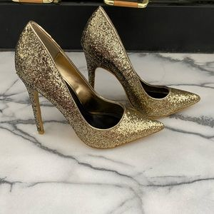 NWT GOLD SEQUIN HIGH HEELS SHOES
